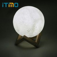 ITimo 2 Color Change Moon Lamp USB LED Night Light 12CM Creative Gift Touch Switch Rechargeable Home Decor Moon Light