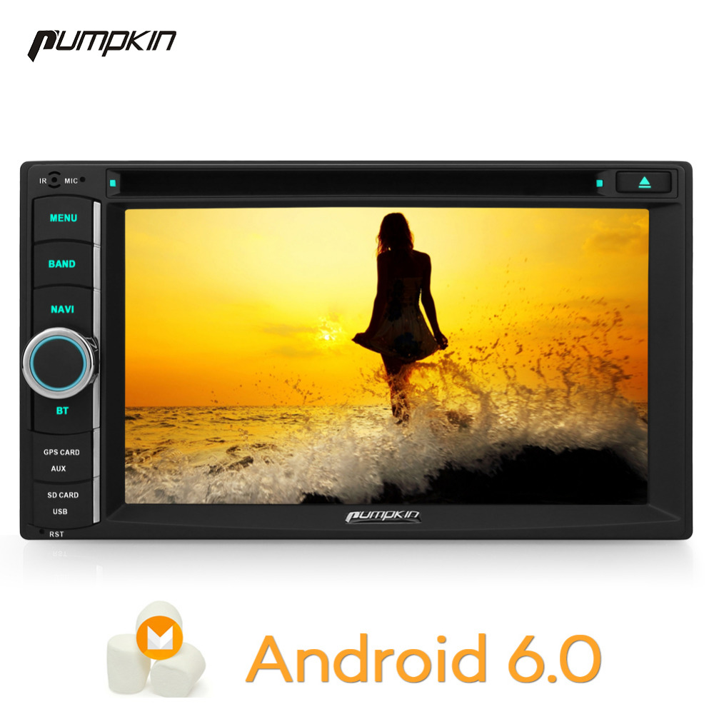 Pumpkin 2 Din 6.2 Inch Android 6.0 Universal Car DVD Player GPS Navigation Subwoofer Car Radio FM Rds Maps Wifi Bluetooth Stereo
