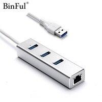 BinFul Aluminium High Speed 3 Ports USB 3 0 Hub 10 100 1000 Mbps To RJ45