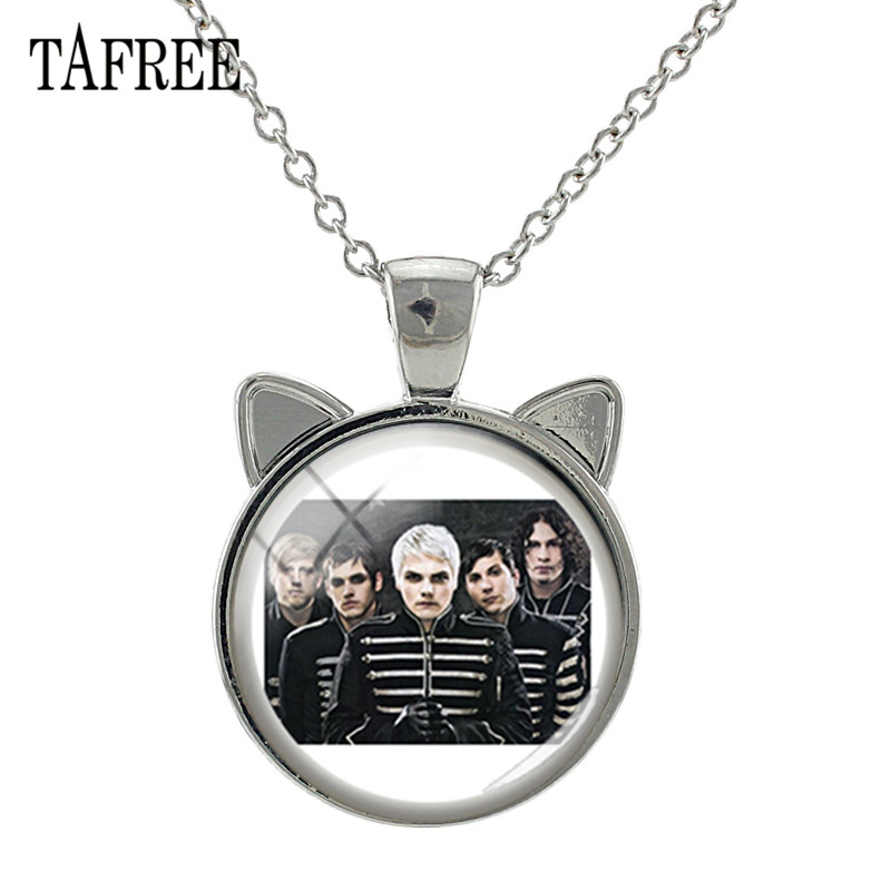 TAFREE Hot Rock Band Music Sign Glass Pendant Necklace Linkin Park Ear Charms Long Chains Necklaces Fans Jewelry Gift Kc36 in Pendant Necklaces from Jewelry Accessories