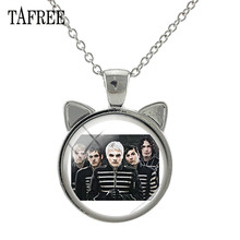TAFREE Hot Rock Band Music Sign Glass Pendant Necklace Linkin Park Ear Charms Long Chains Necklaces Fans Jewelry Gift Kc36