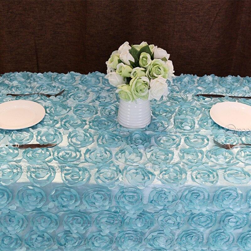 Baby Blue 60u0027u0027x102u0027u0027 Wedding Tablecloth Rectangular Sequin Table Overlays  3D Rose Flower Tablecloths Wedding Decoration In Tablecloths From Home U0026  Garden On ...