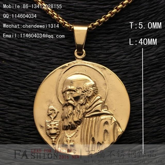 k oro amarillo san benito sacerdote acero inoxidable medalla colgante de la nueva joyera slo