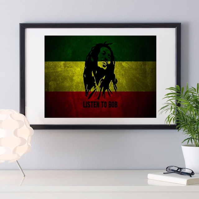 Bob Marley Flag Vintage Modern Poster Art Wall Pictures Silk Fabric ...