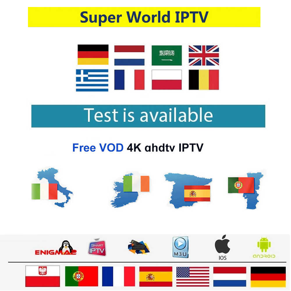 iptv portugal italy iptv subscription m3u Europe free test France UK German Arabic Dutch Poland for tv box Androd box