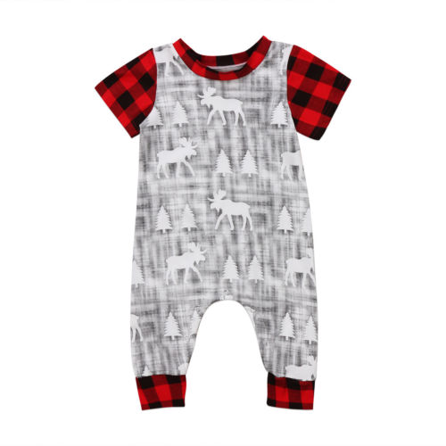 Christmas Top Baby Boy Girl Infant Clothing Romper Jumpsuit Short Sleeve Cotton Cute Animals Clothes Baby Boys puseky 2017 infant romper baby boys girls jumpsuit newborn bebe clothing hooded toddler baby clothes cute panda romper costumes