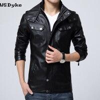 2017 New Fashion Stylish Mens Hooded Leather Jacket Good Quality Detachable Cap Hoodie Leather Jacket