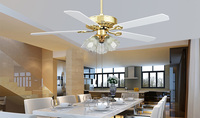 Вентилятор света Простые Модные гостиная вентилятор потолочный светильник Ресторан Деревянный оставляет Европейский потолочных вентилят