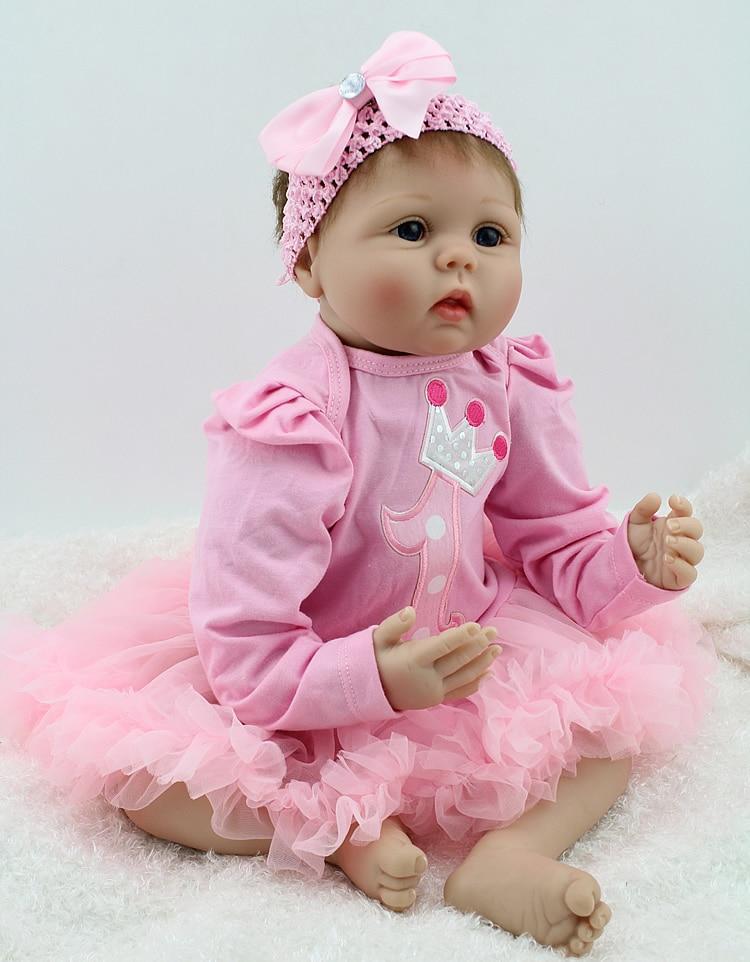 NPKDOLL Reborn Baby Doll 22 Inch Lifelike Soft Silicone Reborn Toys Fashion Gift For Girls Newborn Babies Toys