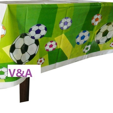CAMMITEVER 1pc Green Football Theme Happy Birthday Party Decoration Kits Supplies Soccer  Ball Table  Cloth Covers