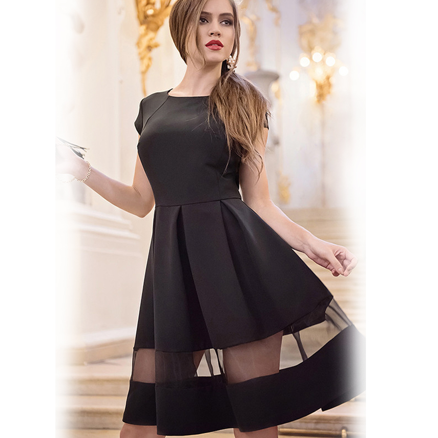 34815accd32 2016 short women dresses free shipping lady dresses knee-length Dress wild short  sleeve chiffon black o-neck a-line vestidos