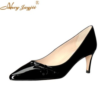 Woman shoes Lady Pumps Black Solid Patent Leather Basic Butterfly-kont Sweet Super high thin heels Zipper Pointed Toe Brand 2018