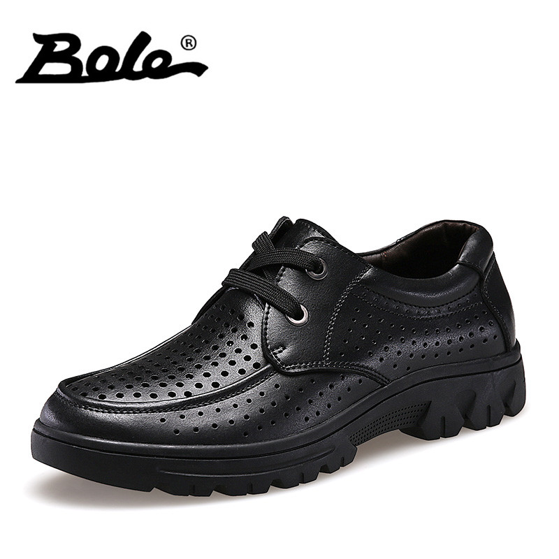 BOLE Men High-top Shoes Punching Breathable Leather Men Shoes Fashion Design Lace Up Business Casual Shoes Men Shoes Size 37-50 pink lace up design long sleeves top and pleated design skirt two piece outfits