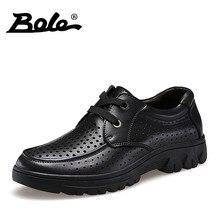 Боле Для мужчин высокого верха Обувь Пробивание дышащая мужская кожаная обувь модные Дизайн Кружево до Деловые повседневные туфли Мужская обувь Размеры 37-50