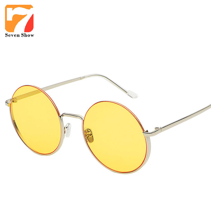 Fashion Round Sunglasses Women Men Brand Designer Vintage Sun Glasses For Female Clear Mirror Shades Oculos