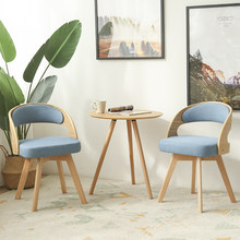 Modern minimalist solid wood dining chair home balcony cafe table and chair combination lounge chair(China)