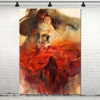 Handpainted Con Số Trừu Tượng art dầu tranh on canvas Trừu Tượng Dancer In Red canvas vẽ tranh người phụ nữ sexy tranh trang trí tường