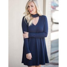 Women Autumn Knitted Sweater Dress Elegant Blue Sexy V Neck Hollow Fashion A Line Long Sleeve Winter Black Short Dresses 2019 autumn winter women pullover sweater sexy deep v neck black color sweater dresses hollow lace up short knitted dress for ladies