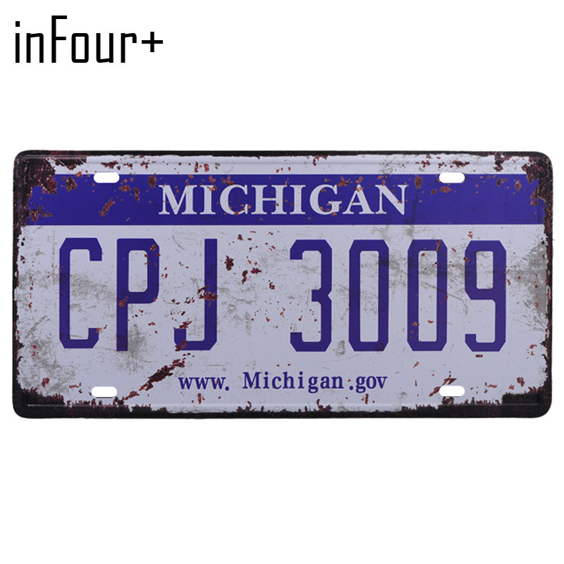 [inFour+] CPJ3009 License Plate Metal Plate Car Number Tin Sign Bar Pub Cafe Home Decor Metal Sign Garage Painting Plaques Signs