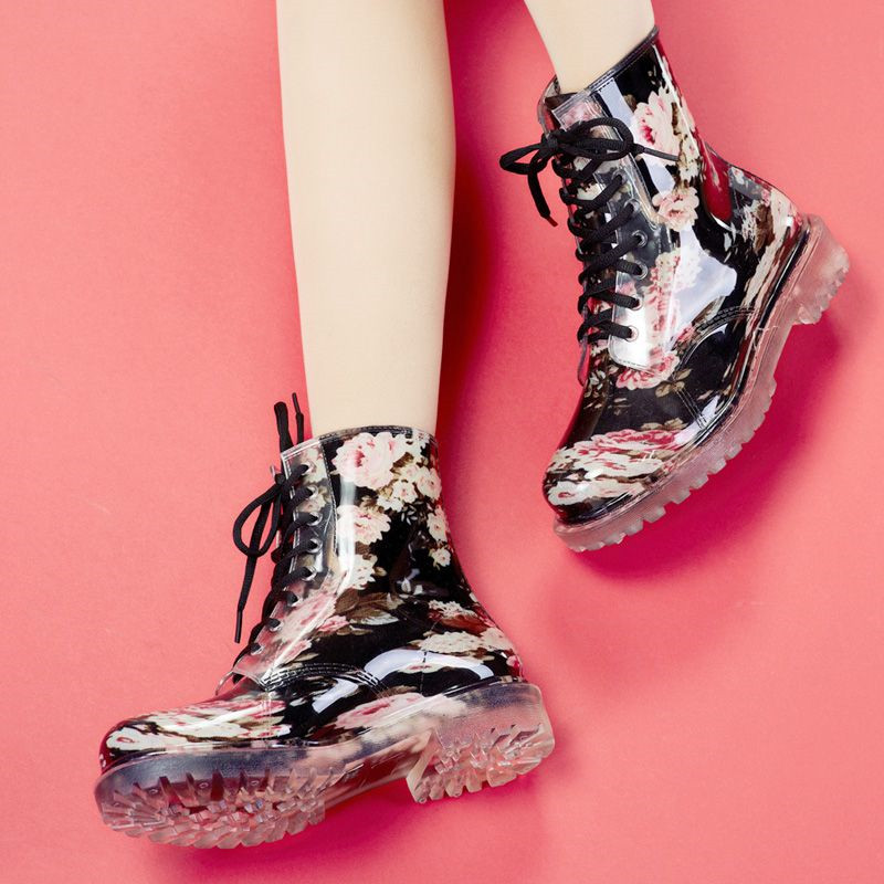 ФОТО MAGGIE'S WALKER Women rainboots Fashion Spring Rain Boots Flat Slip-resistant Lace-up Rubber Floral Rain boots size 35-39