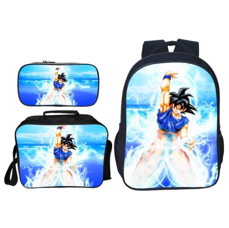 3Pcs/Set Printing Cartoon Dragon Ball Kids Baby School Bags Super Saiyan Sun Goku Backpacks Children Schoolbag For Boys Bookbag