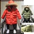 2016 дети пальто натуральный мех сгущает куртка мальчик хлопка-ватник мальчики зимняя куртка с меховым капюшоном хлопка вниз пальто мальчики