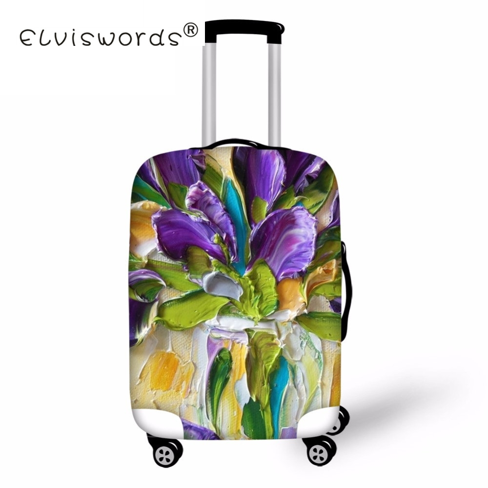 ELVISWORDS 3D Flower Print Luggage Case Cover Oil Painting Suitcase Covers Accessories Travel Elastic Protective Trunk Wholesale