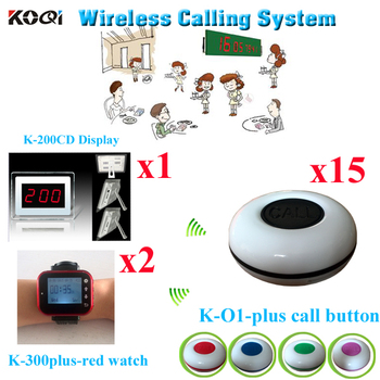 Restaurant Table Call System Waiter Call Bell With 3-digit Number Display Restaurant Set( 1 display with 2 watch and 15 buzzer)