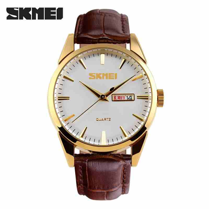 Relogio Masculino 2017 Hot SKMEI Fashion Men Watches Quartz-watch Brand Luxury Genuine Leather Casual Male Clock Wrist Watch mance luxury men s watches fashion brand dragon rome digital leather hollow dial quartz wrist watch relogio masculino time clock