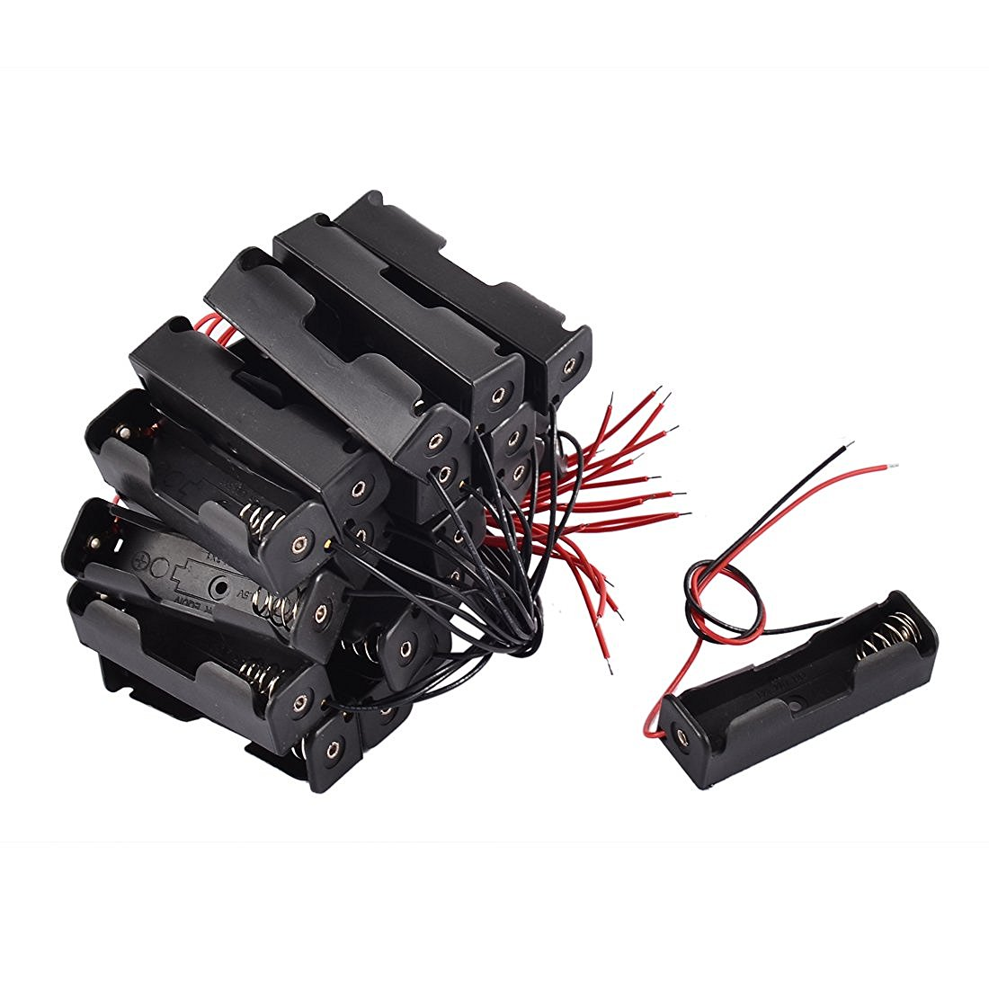 20 Pcs Black 2-Wired 1x AA Battery Case Box Holder