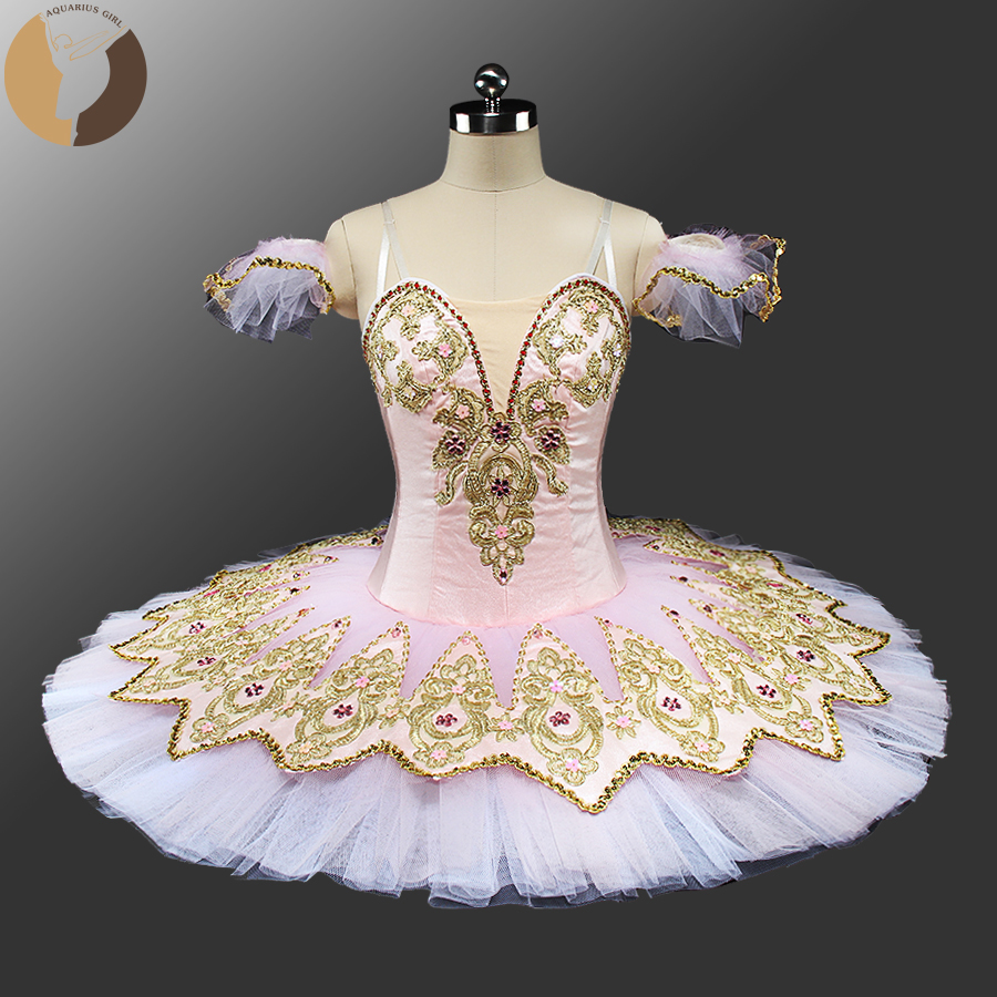 Fltoture CH0041F Girs Pink Ballet Tutu 10 Layers Tulles Lace Dress Child Professional Ballet Tutus Sleep Beauty Dance Costumes