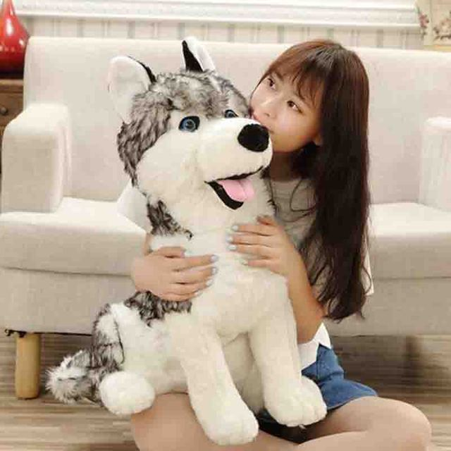 55cm Simulation German Shepherd Plush Toy Big Size Siberian Husky