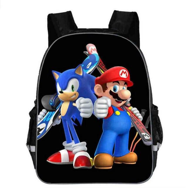 13 Inch Super Mario Backpack Children Cartoon Sonic Backpacks Boys Girls Schoolbag For Kindergarten Daily Backpack Kids Bookbag Backpacks Aliexpress