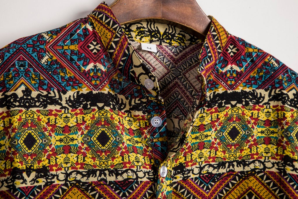 Retro Ethnic Nationality Mens Shirt Short Sleeve Casual Cotton Linen Printing Stand Collar Hawaiian Shirt Blouse Mens Clothing Clothing Men's Clothing