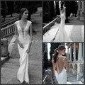 Vestido De Noiva 2017 Sheath Deep V-neck Lace Open Back Designer Lace Wedding Dresses Wedding Gown Bridal Dresses Bridal Gown
