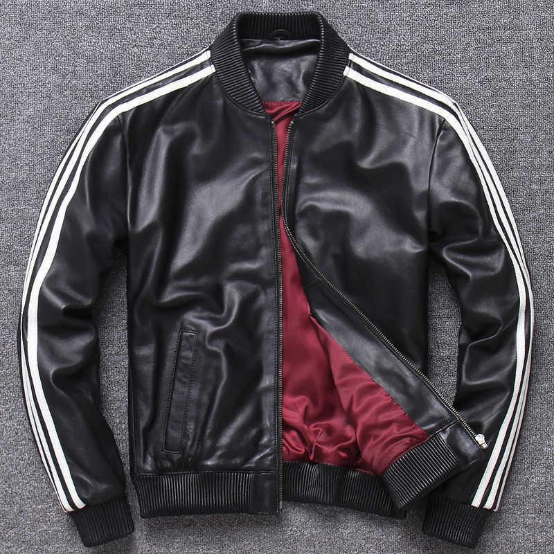 リアルレザージャケットメンズと女性の羊皮野球革ユニフォームのコートカップル服本革ジャケット XXXL プラス