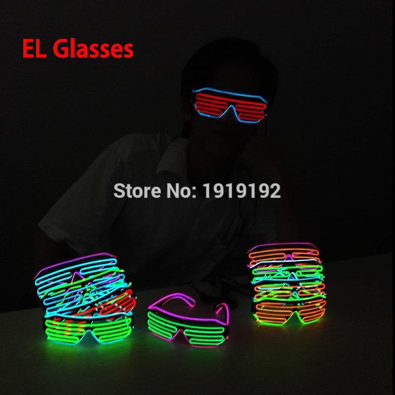 Fashion Double Color Glow LED EL Glasses Wire sunglasses Light Up Shades Flashing Rave Festival Party Bright Glasses New