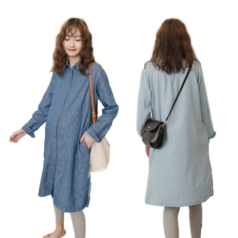 Maternity Wear Pregnancy Clothes Denim Long Shirt Pregnant Dress Plus Size Spring Autumn Women's Clothing 2019 New Fashion