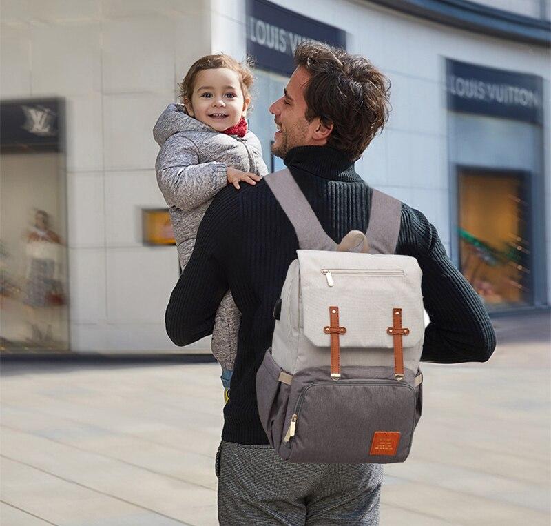 HTB1sWPbX8WD3KVjSZFsq6AqkpXag 2019 Diaper Bag Mummy Daddy Backpack Baby Stroller Bag Waterproof Oxford Handbag Nursing Nappy Bag Kits USB Rechargeable Holder