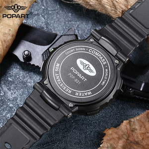 Image 5 - POPART Mens Watches Compass World Time Stopwatch Down Counter Alarm LED Digital Sport Watches For Men Clock Relogio Masculino