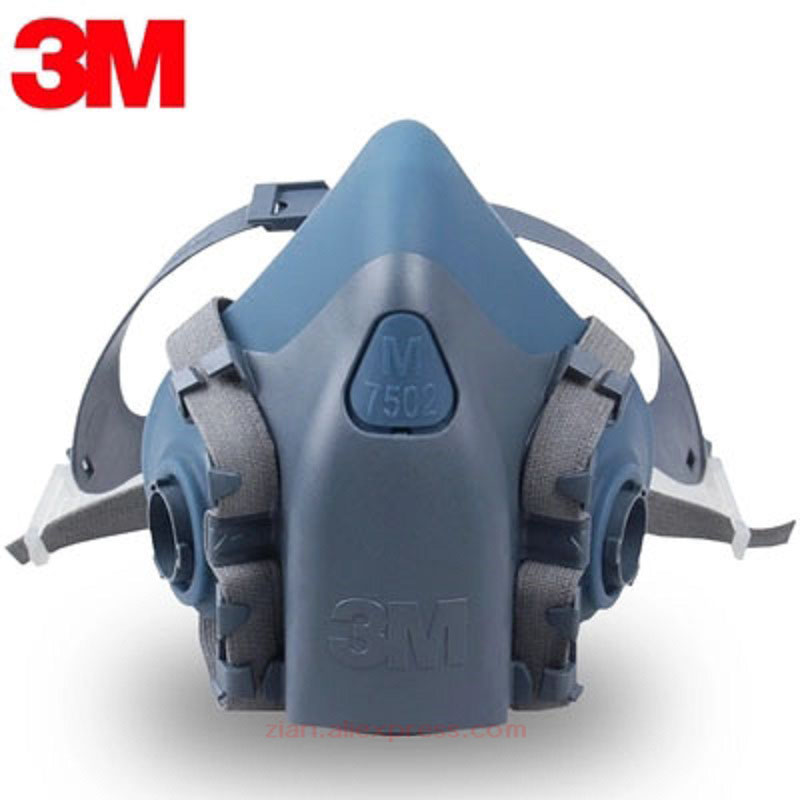 3M7502 Industrial Gas Mask Chemical Spray Paint Dustproof with <font><b>6000</b></font> Series Filter Cartridge 2091/5N11 Filter Cotton Working Mask image