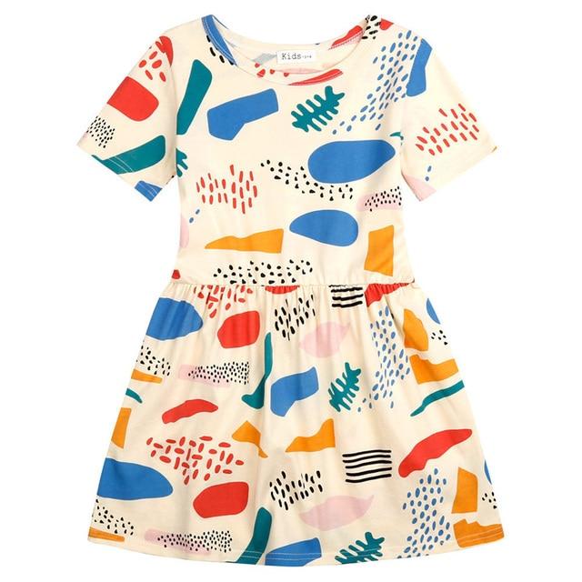 Маленькие Девочки Летнее Платье 2016 Новая Мода Граффити Pattern Детские Платья Для Девочки Одежда Высокого Качества vestido menina
