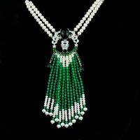 2rows freshwater pearl near round white and green stone 8 9mm necklace wholesale beads 34 35inch nature unique clasp