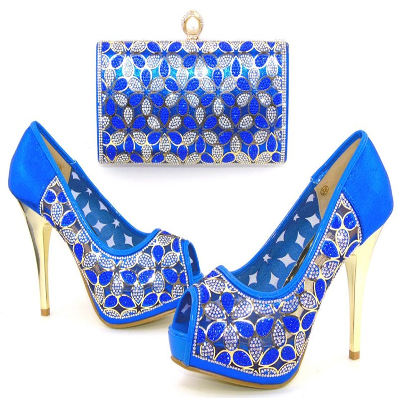ФОТО Italian Shoes With Matching Bags Woman Shoe Pumps African Wedding Shoes And Bag To Match With Stones Size 37-43 TH16-49