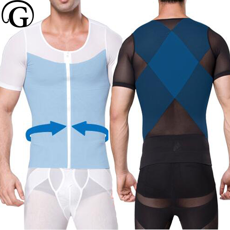 Corset For Men Body Shaper Gynecomastia <font><b>Sleeves</b></font> <font><b>Shirts</b></font> PRAYGER Posture Corrector Slimming Waist Trainer <font><b>Belly</b></font> Trimmer Tops image