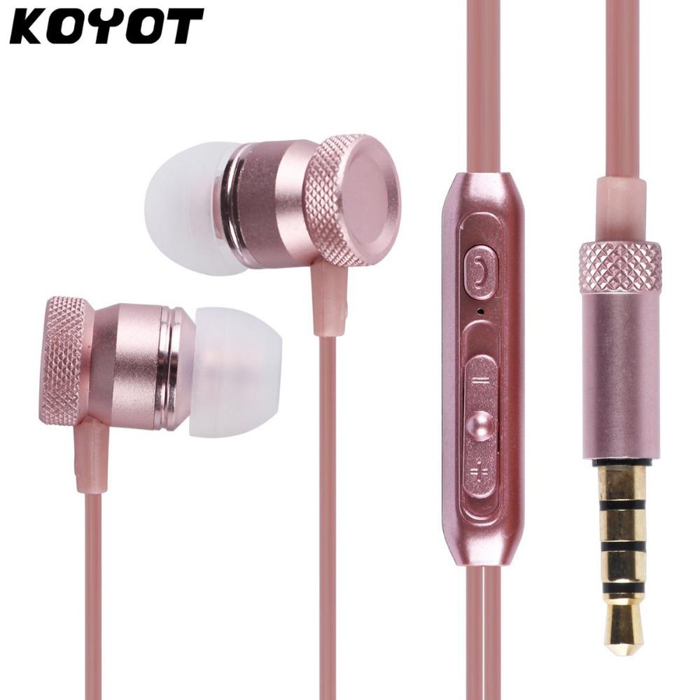 KOYOT Aluminum Metal In Ear 3.5 mm Earphone Stereo in-ear With Microphone Music Control for iphone 6 6s Plus xiaomi Huawei xiaomi miui 3 5mm stereo in ear earphone w microphone blue