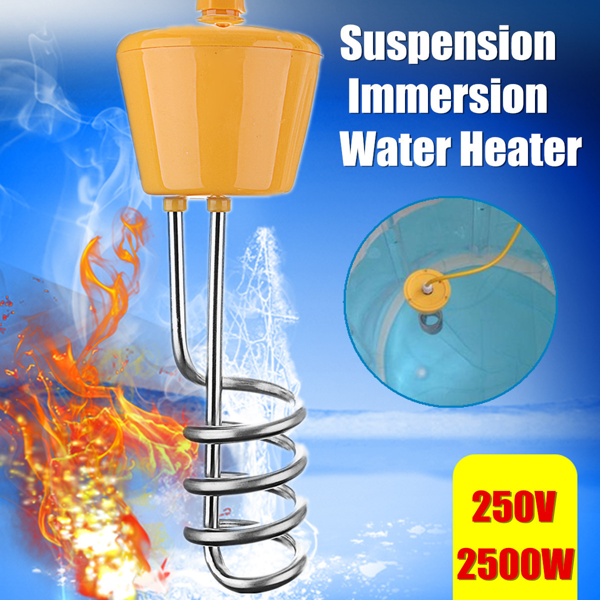 2500W 220V Floating Water Heater Element for Bathtub Swimming Pool with Thermometer Rust-proof Corrosion Resistant Safety2500W 220V Floating Water Heater Element for Bathtub Swimming Pool with Thermometer Rust-proof Corrosion Resistant Safety
