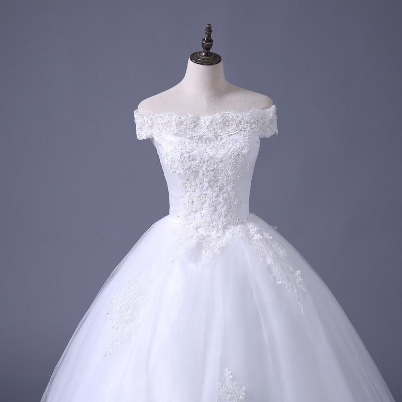 VENSANAC 2017 Free Shipping New A Line Lace Sweetheart Short Sleeve White Satin Bridal Wedding Dress Wedding Gown 30217 6