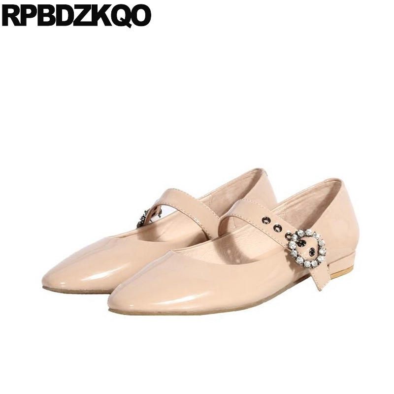 Crystal Nude Women Rhinestone Japanese Mary Jane Flats Metal Wide Fit Shoes Ladies Round Toe Designer Patent Leather Red Wine nude designer famous brand shoes high quality patent leather mary jane pointed toe flats low heel ballet ladies black ballerina
