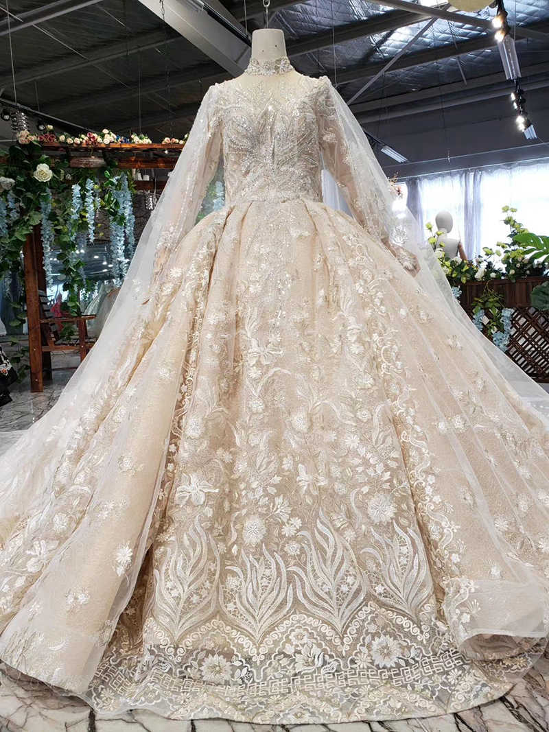 Htl492 vestidos de noiva de renda artesanal com trem alta pescoço manga longa tule vestido de noiva do vintage com manto vestidos boda novia